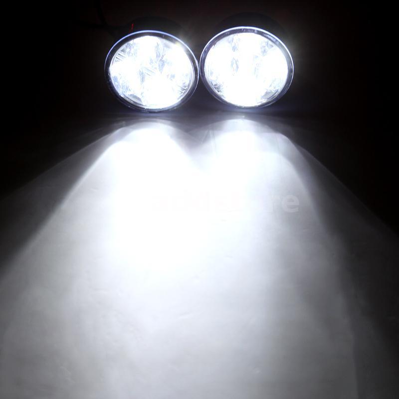 2pcs universel blanc 4 conduit rond diurne feux drl voiture antibrouillard ebay. Black Bedroom Furniture Sets. Home Design Ideas