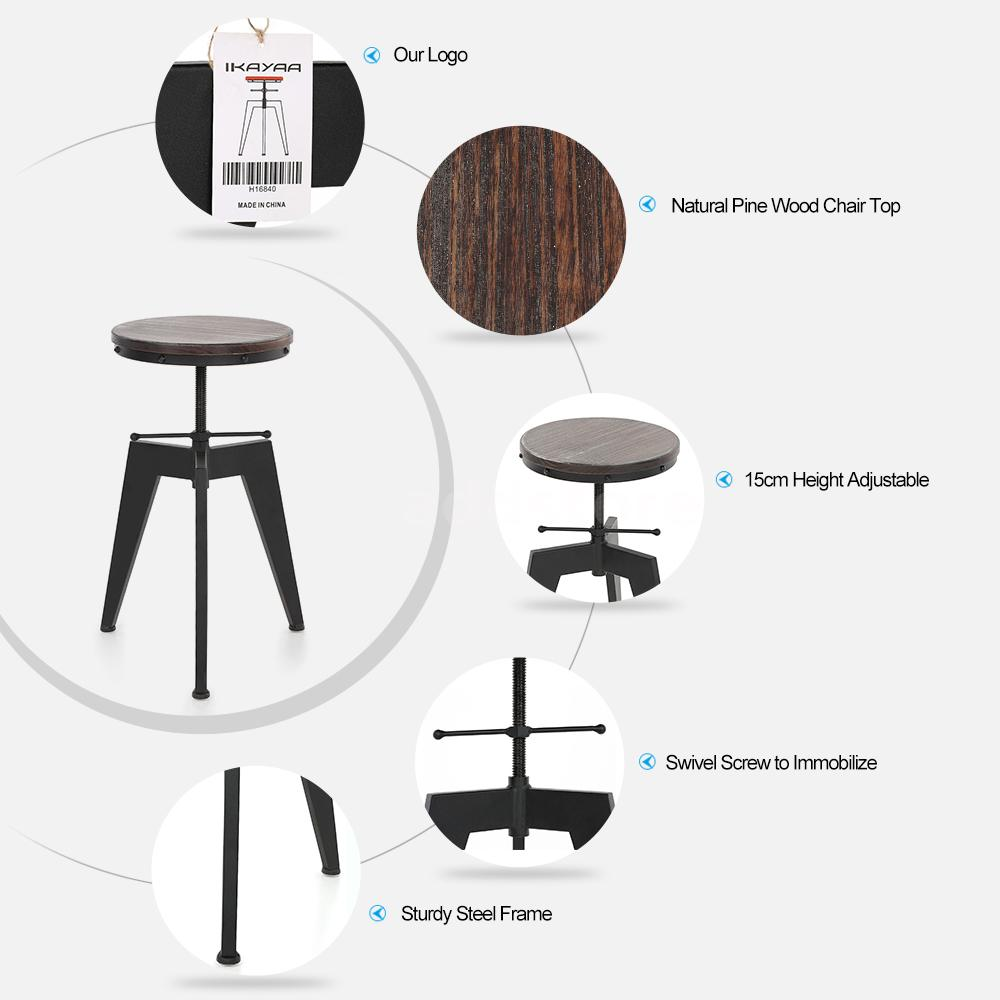 Industrial Wood Adjustable Seat Barstool High Chair: IKAYAA Vintage Industrial Wood Seat Bar Stool Adjustable
