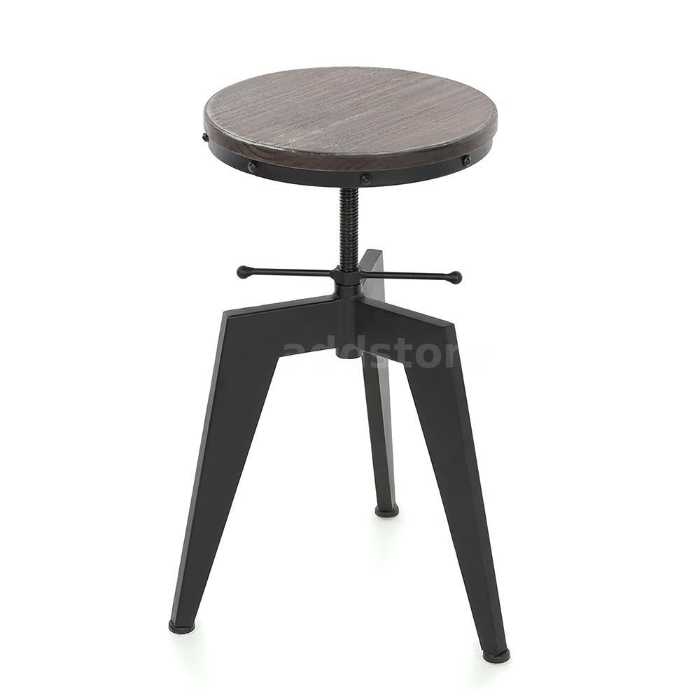 ikayaa vintage industrial wood seat bar stool adjustable height  - does not apply