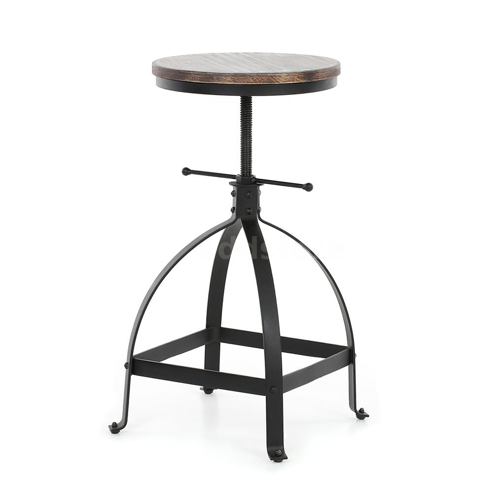 3 Bar Stools High Seat Chairs Adjustable Swivel Counter: IKAYAA Industrial Style Adjustable Height Kitchen Chair