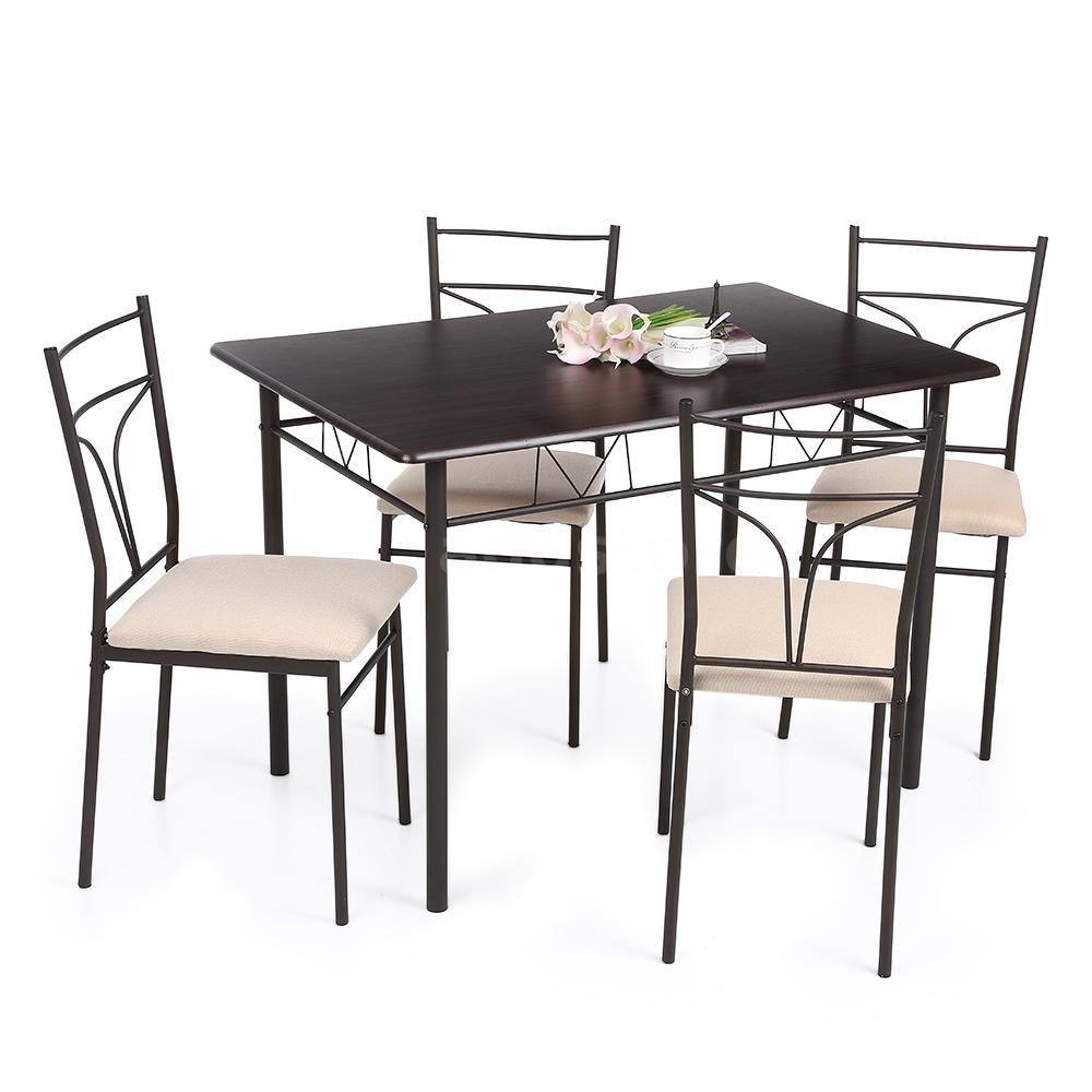 ikayaa 5 piece dining kitchen table and 4 chairs kitchen